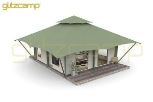 jungle safari tent - two peak safari tent resort - outdoor cafe house tent - forest multi-peak luxury cafe tent - large cafe safari tent with platform - Glitzcamp (1)