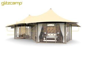 luxury safari tent - two peak safari tent - canvas hexagon shape tent hotel-African Style Safari tents-Glitzcamp (1)