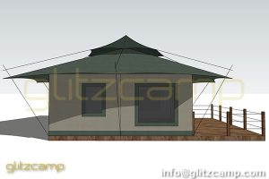 high peak safari tent-luxury lodge-retangle living space- glizcamp fabric membrane tent - glamping lving tent with top hap-2-3 people glamping hotel design (2)