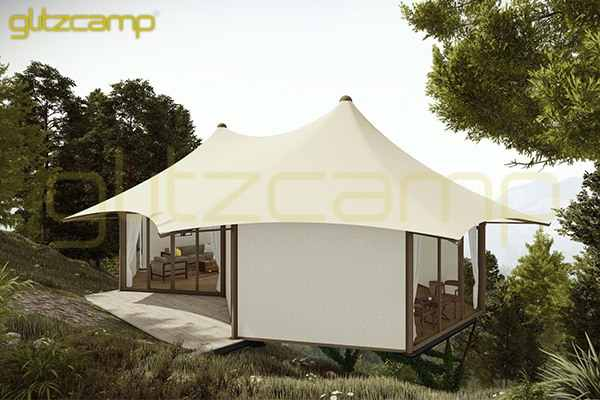 safari tent glamping - limestone resort tent - mountain luxurious canvas tent accomadation - 4-6 people hotel tent on rugged mountain road-Glitzcamp (2)