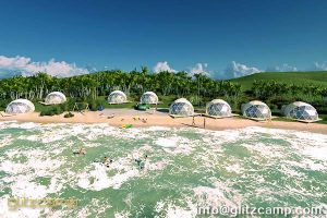 dome tent- geodesic dome seaside-Seaside Travel Geodesic Dome Tent- lakeside eco-living dome tent-Glitzcamp glamping dome