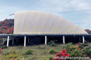 cocoon tent at mountain - cocoon house - 12feet high canvas cocoon tents- glitzcamp cicada pod pearl tents
