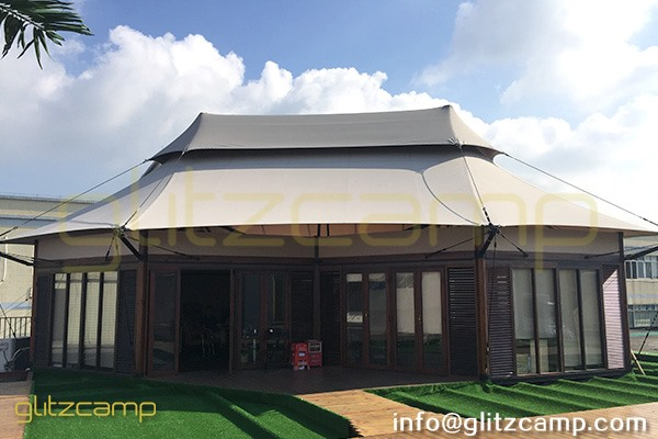 luxury glamping tents in rooftop showroom-safari lodge tent for resort-eco living dome igloo-geodome tents for campsite-portable snooze box hotels-glitzcamp display area (6)