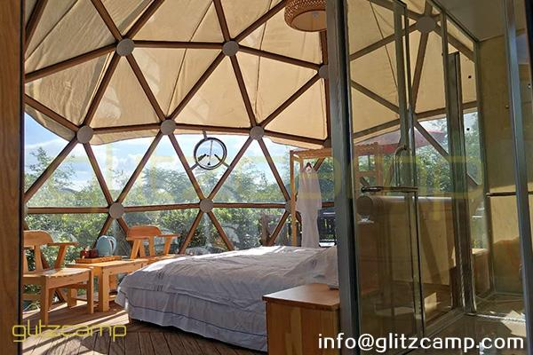 glass dome hotel for jungle park-glass living domes for 2 men lodging-glass clear tent for forest resorts-glamping dome tents for sale-glitzcamp (5)