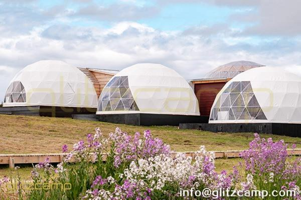dome kit connected with log cabin-luxury dome home for 2 men living-glamping dome tents on plain campsite-eco dome hotel for glamping resorts-glitzcamp (1)