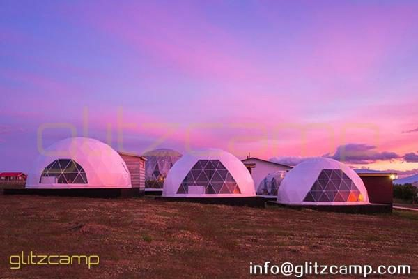Geodome Kit Connected with Log Cabin - Eco Living Dome Hotel Suites