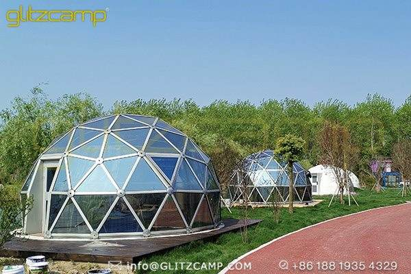 glass geodesic dome for glamping resorts-garden igloo domes for 2 person tent-glass greenhouse dome for sale-glitzcamp (5)