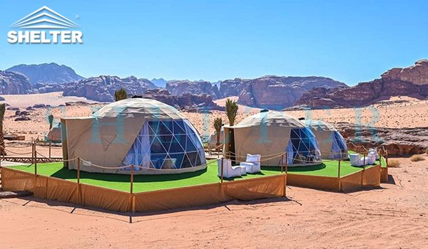 glamping igloo tent for desert resort-geodesic dome tent hotel for luxury camping-eco living domes for sale-geodome tent kit for desert campsite-glitzcamp (1)