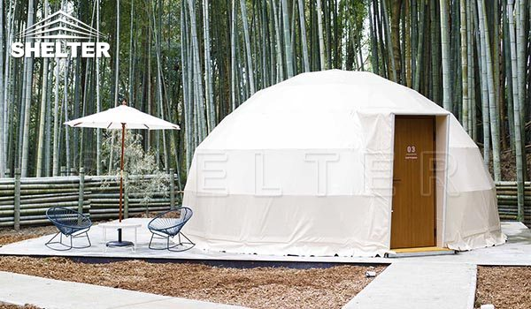 japan bamboo forest 6m dome houses dome hotel outer white 1