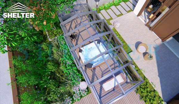 hot tub enclosure - telescopic sunroom extension - above ground or inground swimming pool enclosures - enclosed porch - glass polycarbonate dome spa enclosure (1)