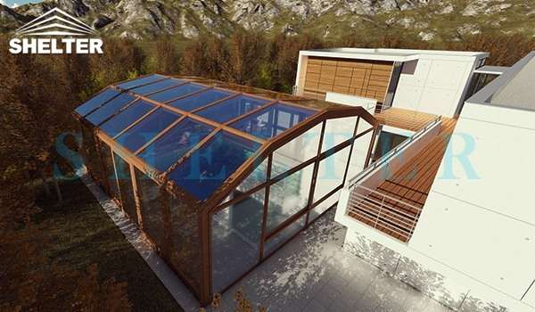 retractable sunroom - telescopic sunroom extension - above ground or inground swimming pool enclosures - enclosed porch - glass polycarbonate dome spa enclosure (3)