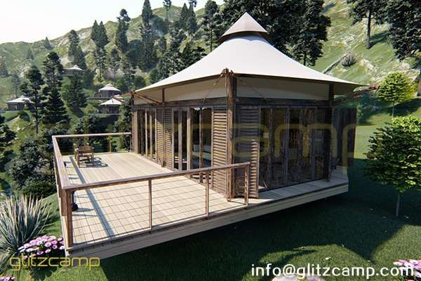 limestone resort tent - luxury camping tents -best 2 person lodge tent - 48 sqm tipi tent with room -glitzcamp (3)