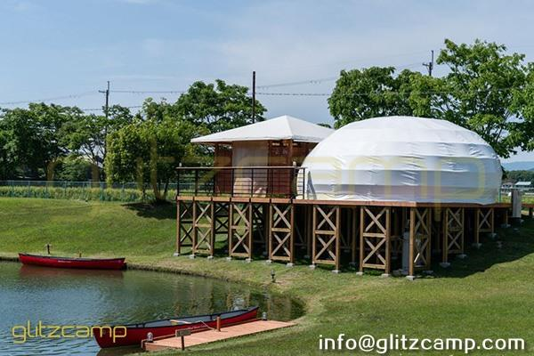 eco living cabin dew dome tent-teardrop dome tents for resort-glamping tent in japan-lakeside beach deluxe tent hotel-glitzcamp (24)
