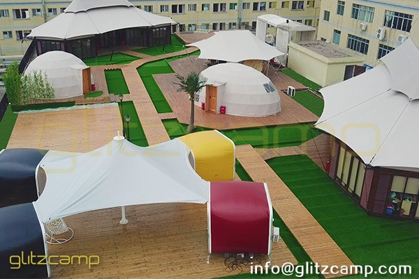 luxury glamping tents in rooftop showroom-safari lodge tent for resort-eco living dome igloo-geodome tents for campsite-portable snooze box hotels-glitzcamp display area (1)
