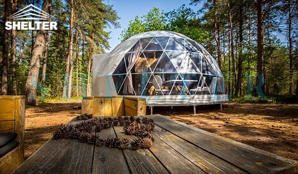 glamping dome house for eco resorts-geodesic dome hotel for forest eco retreat-luxury dome tent for 3 people living-geo dome kit for sale-glitzcamp (1)