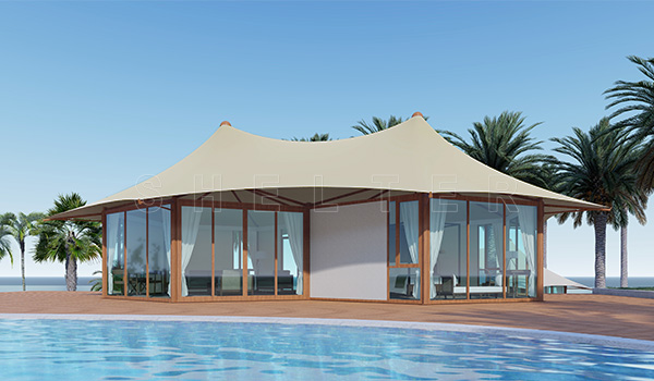 seaside lodge tent - mountain glamping tent with glass sidewall - luxury camping tent- four seasons tent (8)